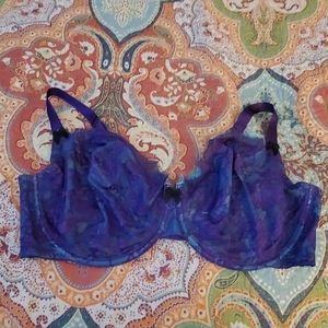 Cacique 46DDD Blue/Purple Lace unlined full bra